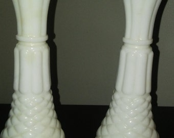 Set of 2 Vintage Milk Glass Vases (Pineapple Design)