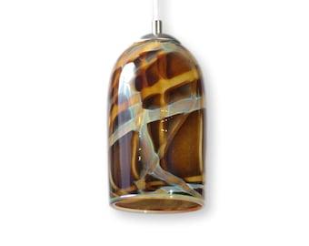 Amber Milky Way Hand Blown Glass Ceiling Pendant Light Contemporary Modern Interior Lighting Made in Rhode Island, USA