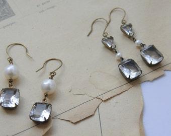 Art Deco earrings, Vintage crystal earrings, Pearl earrings, Bridal earrings