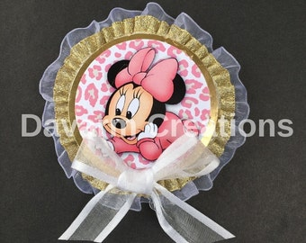 12 Minnie/Minnie Mouse/Minnie Mouse decoration/Minnie baby girl/Minnie baby/it's a girl/Guest pin/Baby shower/Baby shower supplies/Pink/baby