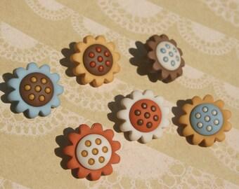 """Sunflower Buttons - Blue Orange Yellow Sunflower Shank Sewing Button - 3/4"""" Wide - 6 Buttons"""