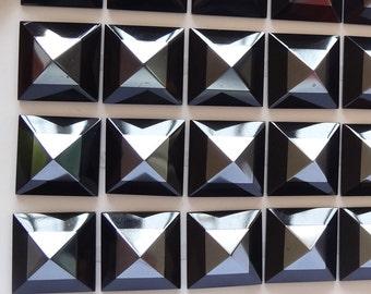 LAST Piece Intarsia Onyx Hematite Pyramid Square Stud Cabochon 14x14 mm J4082