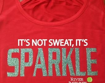 SPARKLE Flowy Tank, workout jersey racerback tank, It's not sweat, it's Sparkle