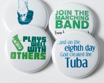 Tuba and Marching Band buttons or magnets - size one inch - set of four - TBA 6