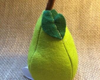 Felt Pear Play food perfect for a Nursery Play Kitchen