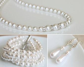 Bridal Jewelry Set, Pearl Wedding Jewelry Set, Pearl Set Earrings Bracelet Set, Bridal Necklace, Wedding accessory for bride e14-b11-n02