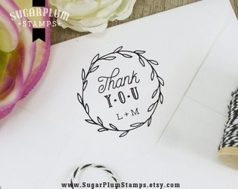 Thank you rubber stamp, initials stamper, gift tag or envelope stamp, cute writing with leaves wreath, monogram stamp