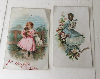 Pair Victorian Cards Calling Postcards Edwardian