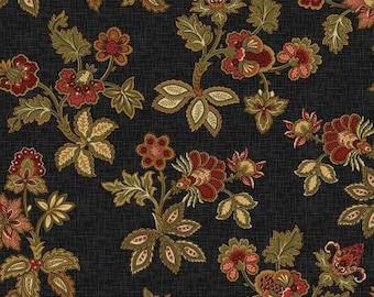 Black Floral Civil War Reproduction, 1/2 yd. Cuts, Studio E, #2157S-99 -