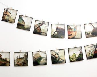 Set of 12 art postcard - Boatwreck Bateau 01