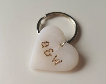 Handmade Embossed Clay Heart Initials White and Gold Personalised Keyring