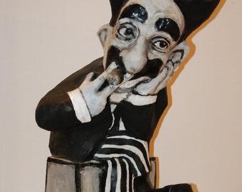 Groucho Marx Sculpture, handmade figurine, cinema