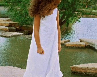 Limited Edition Embroidered Sleeveless White Cotton Gown, Lined with Double Ruffle at Hem   Girls sizes 2-8