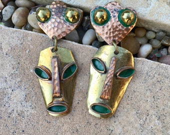 Vintage Casa Maya Mexican Earrings Copper Brass Faces