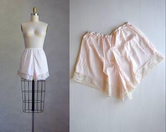 vintage blush pink tap pants   1970s vintage high-waisted sleep shorts   1930s style lingerie   vintage slip shorts