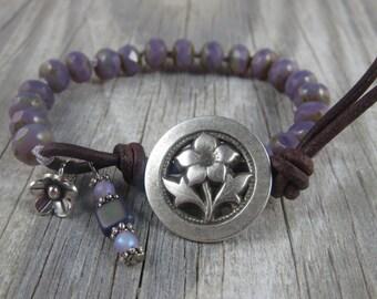 beaded leather bracelet, flower bracelet, layering bracelet, cottage chic bracelet, rustic bracelet, stacking bracelet