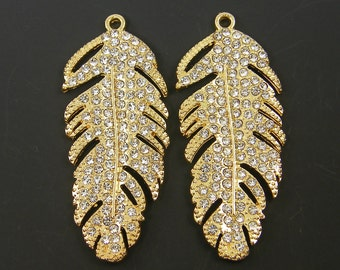 Gold Feather Earring Finding Long Rhinestone Feather Pendant Bright Bridal Jewelry Wedding Bridesmaid |G8-15|2