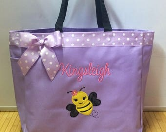 Personalized Girl Bumble Bee Tote Bag Baby Diaper Bag