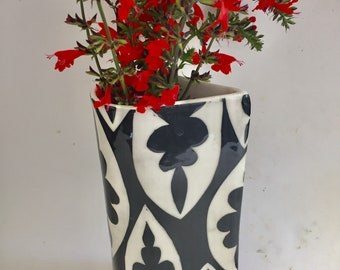 Ceramic vase handmade  black patterned cylinder vase-- Ready To Ship