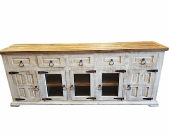 80 inch Hi End Rustic TV Stand 5 Doors 5 Drawers Western Solid Wood White Distressed Rough Cut Finish Ships Already Assembled