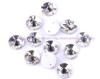 Sew On Flat back Round Rivoli Crystal Clear Rhinestones 10pcs   10mm 14mm 16mm 18mm with holes
