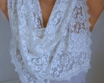 Creamy White Lace Scarf, Wedding Scarf, Shawl,Bohemian, Necklace,Cowl Scarf, Bridesmaid Gift Gift Ideas For Her, Women's Fashion Accessories