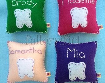 Handmade Felt Embroidered Name Tooth Fairy Pillow Boy or Girl