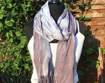 Grey shibori scarf