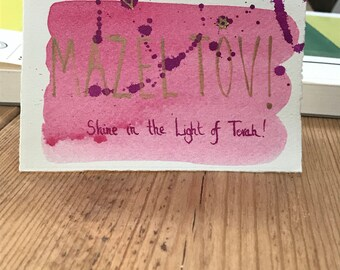 """Mazel tov card for bat mitzvah with text """"Shine in the Light of Torah!"""""""