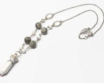White Howlite Crystal Necklace, Howlite Boho Crystal Necklace, Hippie Healing Crystal Necklace, Natural Gemstone Necklace