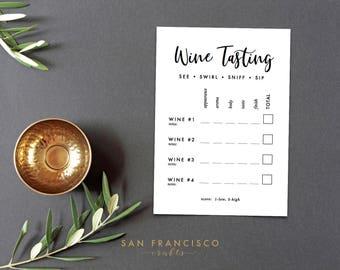 Wine Tasting Score Card - Printable Wine Tasting Cards - 4 wines -  PDF Instant Download