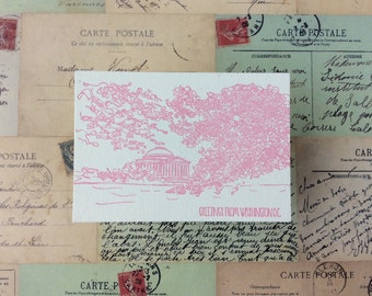 Washington, D.C. - five letterpress postcards