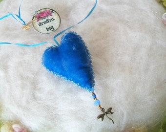 Velvet Heart Necklace Blue Grateful Heart Silk Velvet Tiny Heart Pillow Pendant Beaded Velvet Sentiment Charm Dresser Wall Decoration