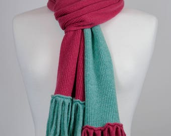 Pink and Green 2 colour Lambswool Scarf