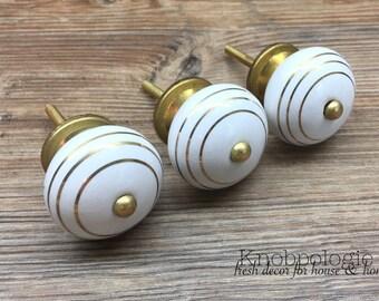 SET OF 4 Gold and White Stripe Ceramic Knob - Art Deco Gatsby Drawer Pull - Round White Ceramic Knob with Metallic Gold