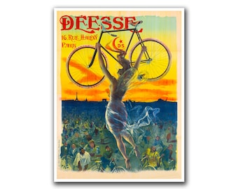 Biking Poster Vintage Cycling Decor Bicycle Art (H225)