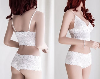 Lace Bridal Lingerie Set/ Honeymoon Lingerie/ Sexy Wedding Lingerie/ Sexy Gift/ Valentines Gift/ Gift for Her
