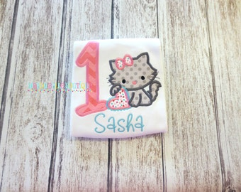 Birthday Kitty Appliqued Shirt - Embroidered, Personalized, Monogram, Birthday, Kitty, Cat, Girls Cat Birthday Shirt, Pink, Cat Shirt