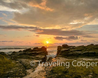 Sunset on the Pacific shore of Costa Rica digital download photo. Printable art, photography of nature, landscapes, and wildlife.