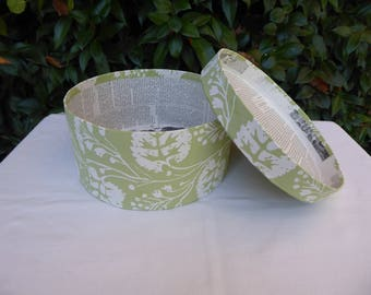 Green and white band box, wallpaper box, 19th century repro