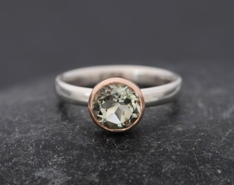 Green Amethyst Engagement Ring - Solitaire Engagement Ring - Green Amethyst Ring - Amethyst Set in 9k Rose Gold  Made to Order Free Shipping