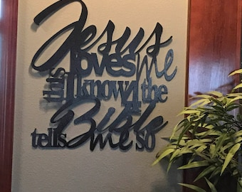 Jesus loves me this i know metal home decor
