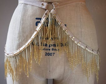 Shimmy Burlesque Beaded Fringe Costume Belt with Circle Detail Made to Order