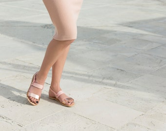 Leather sandals / blush sandals / Greek sandals / handmade sandals / strappy sandals / women sandals / rose gold sandals by Almyra