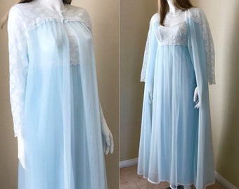 Vanity Fair 50's Blue DBL Chiffon Peignoir Nightgown Set, Chiffon & Lace Nightie w Robe Excellent! Size 34