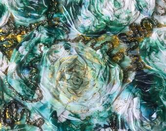 Stunning Luxury Green Silk Rosette Fabric -- 4 yards