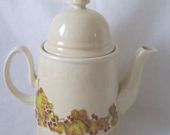Carlton Ware Teapot c.1960 Canterbury Berries and Vine Creamware Teapot