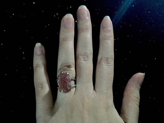 Solid Sterling Silver Rough Raw Sun Stone Red Inclusions Ring Huge Gemstone Double Banded Statement Ring Size 5, 5.5, 6