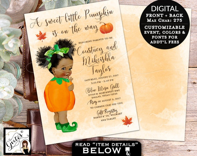 A little Pumpkin baby shower Thanksgiving baby shower is on the way, fall invites, PRINTABLE, DIY Digital File, 5x7, double sided.