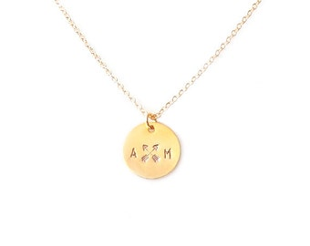 Minimalist Gold Chain Necklace - Personalized Tag - The Basics: Circle Monogram Initials, Crossed Arrows